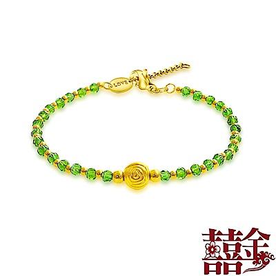 囍金 魅力四射 999千足黃金清新綠水晶手鍊