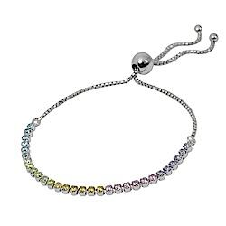 Pandora潘多拉 璀璨彩虹鑲鋯 可調整純銀手鍊手環