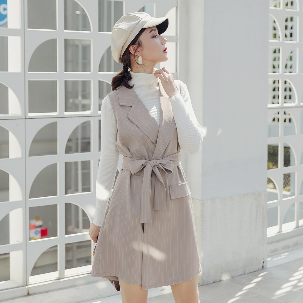 質感俐落條紋西裝背心連身褲裙-OB嚴選