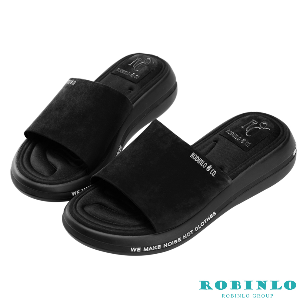 Robinlo 輕量動感彈力軟墊涼拖鞋 黑色