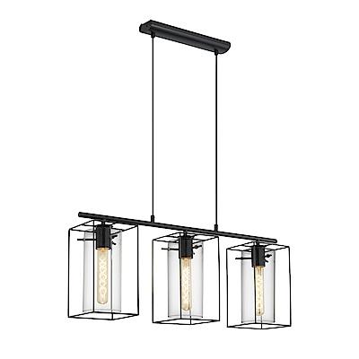 EGLO歐風燈飾 現代黑玻璃三燈式吊燈(不含燈泡)