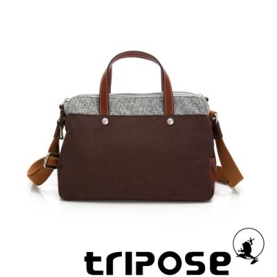 tripose 漫遊系列岩紋雙拉鍊手提斜背包 可可咖
