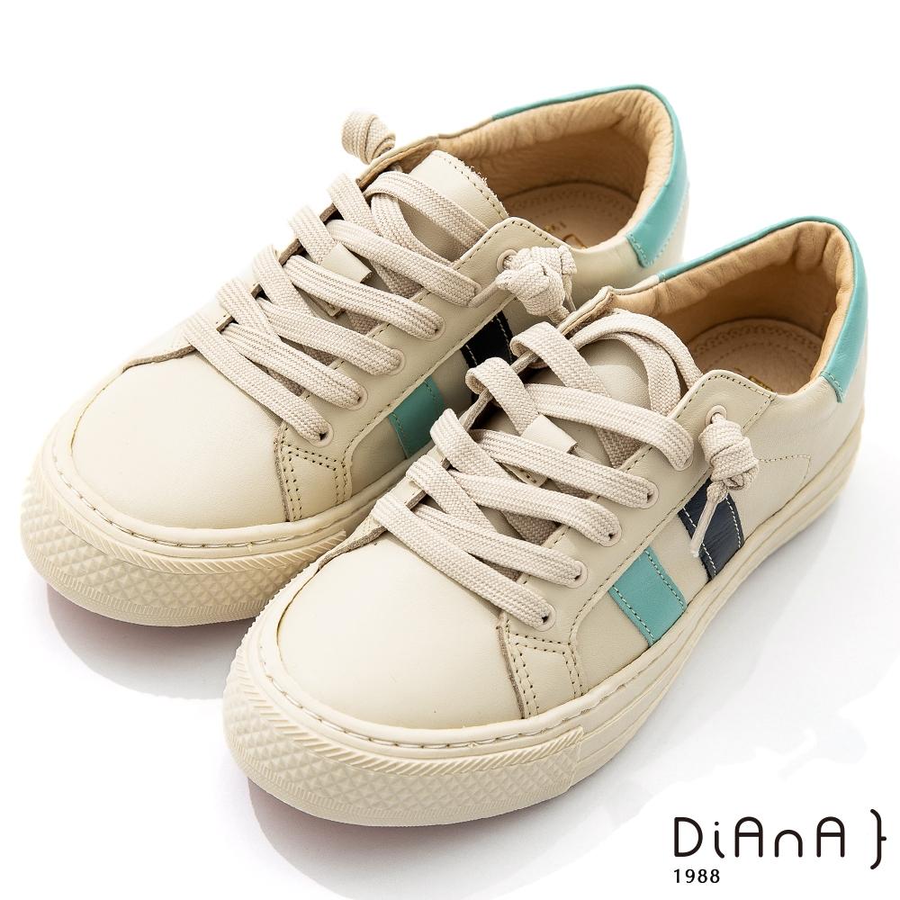 DIANA 3.5cm質感牛皮經典線條設計免綁帶圓頭休閒鞋-漫步雲端焦糖美人-天空藍X藍