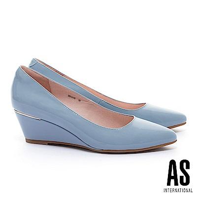 高跟鞋 AS 經典實穿超軟牛漆皮素面尖頭楔型高跟鞋-藍
