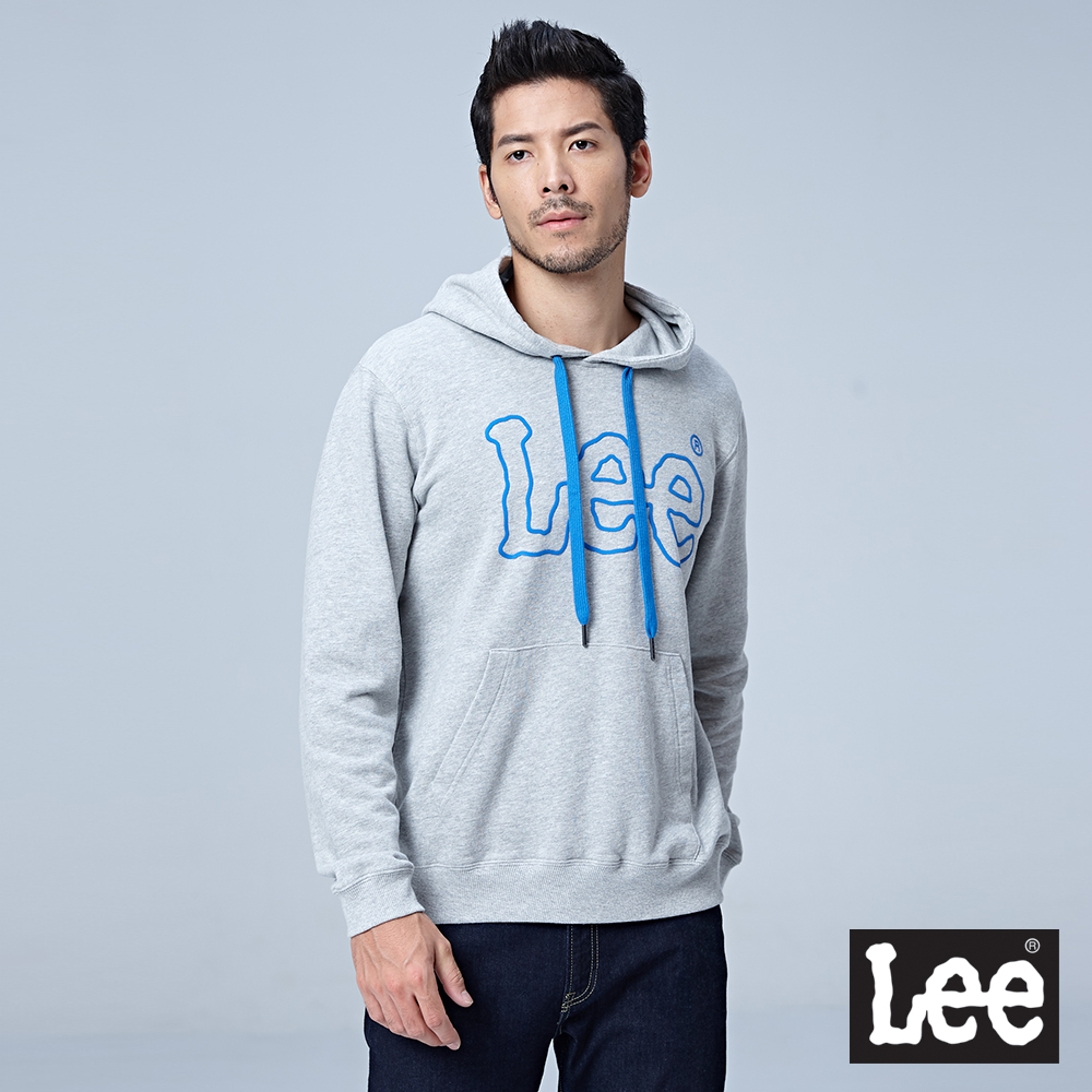Lee 大LOGO連帽厚TEE/RG-花灰色