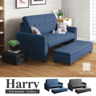 漢妮Hampton哈利雙人拉扣收納沙發組-藍色