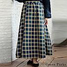 Green Parks 格紋配色側排釦設計長裙