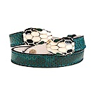 BVLGARI 寶格麗 Serpenti系琺瑯雙蛇頭蟒皮多圈手環 (祖母綠)