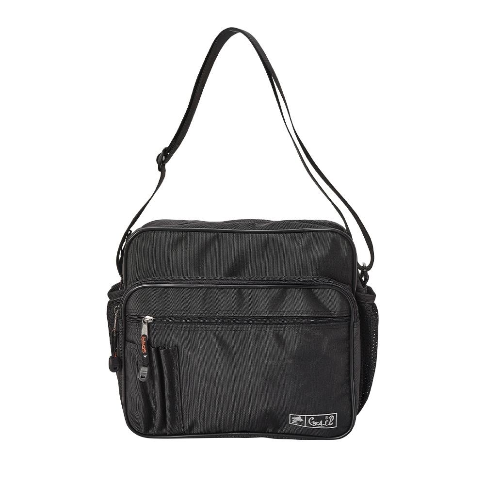 WAIPU MIT台灣製造 多功能側背包 男女休閒包 背包 橫式側背包 斜背包(黑色)05-006B