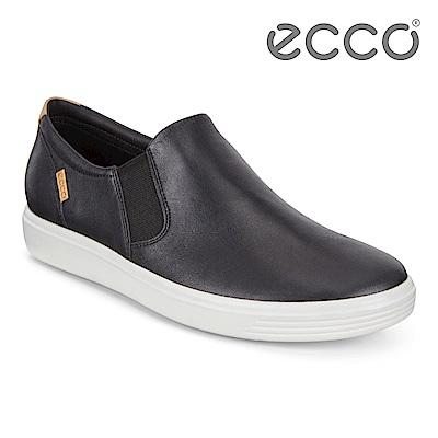 ECCO SOFT 7 W 經典素色套入式休閒鞋 女-黑
