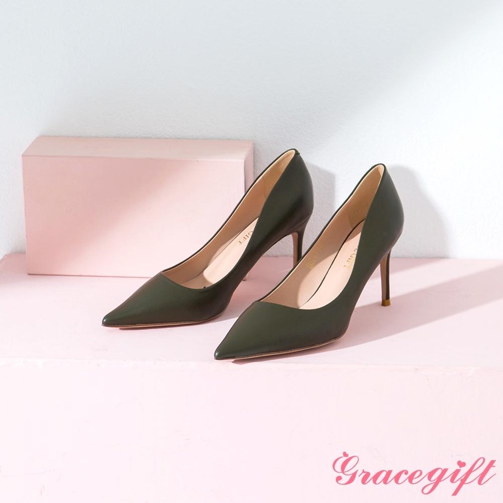 Grace gift-素面尖頭平口細高跟鞋 墨綠