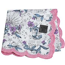 ANNA SUI 優雅荷葉邊可愛人魚世界字母LOGO帕領巾(粉紅邊)