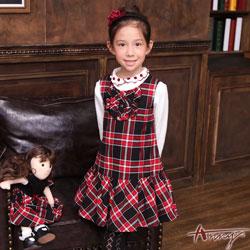 Annys學院奢華格紋立體荷葉領背心洋裝*6228紅