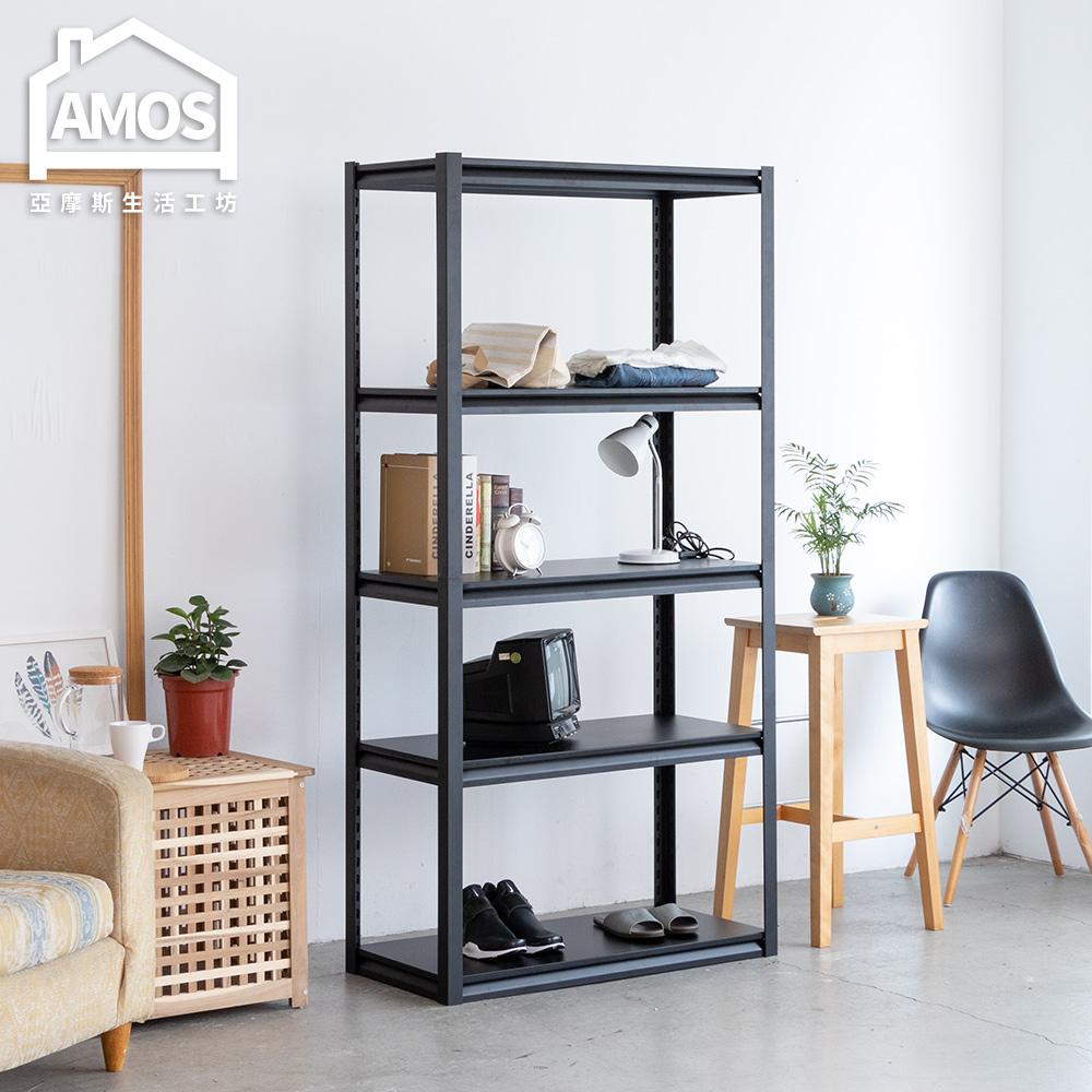 Amos-黑金剛免螺絲超穩固鐵板五層角鋼層架