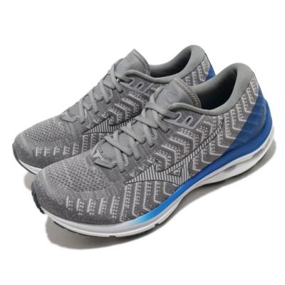 Mizuno 慢跑鞋 Wave Rider 24 超寬楦 男鞋 美津濃 路跑 緩震 透氣 球鞋穿搭 灰 藍 J1GC207601