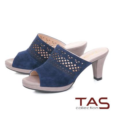 TAS鏤空雕花麂皮魚口粗跟涼拖鞋-深海藍
