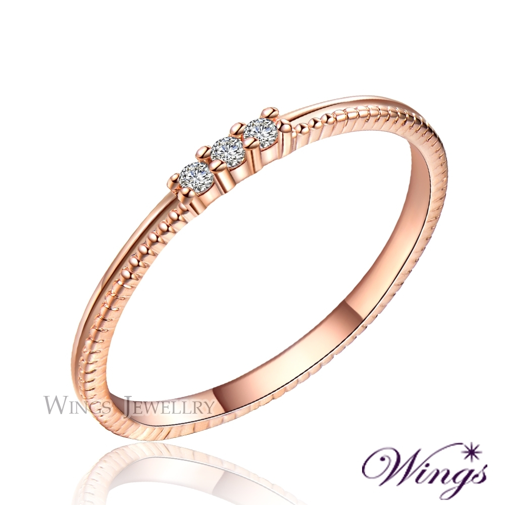 【WINGS】星空 纖細美麗的優雅 精鍍玫瑰金戒指 尾戒 聖誕(擬真鑽 鑽戒 尾戒 對戒) NW113