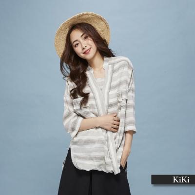 【KiKi】休閒款條紋-上衣(三色).