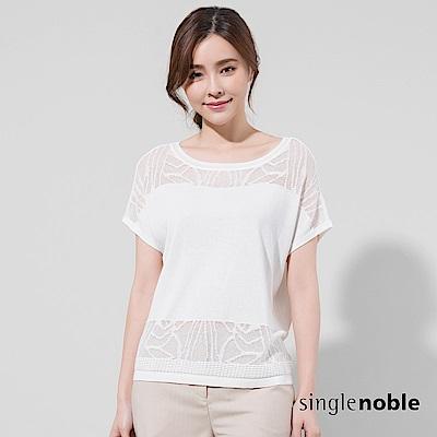 獨身貴族 斑斕絢麗拼接緹花蕾絲針織衫(2色)