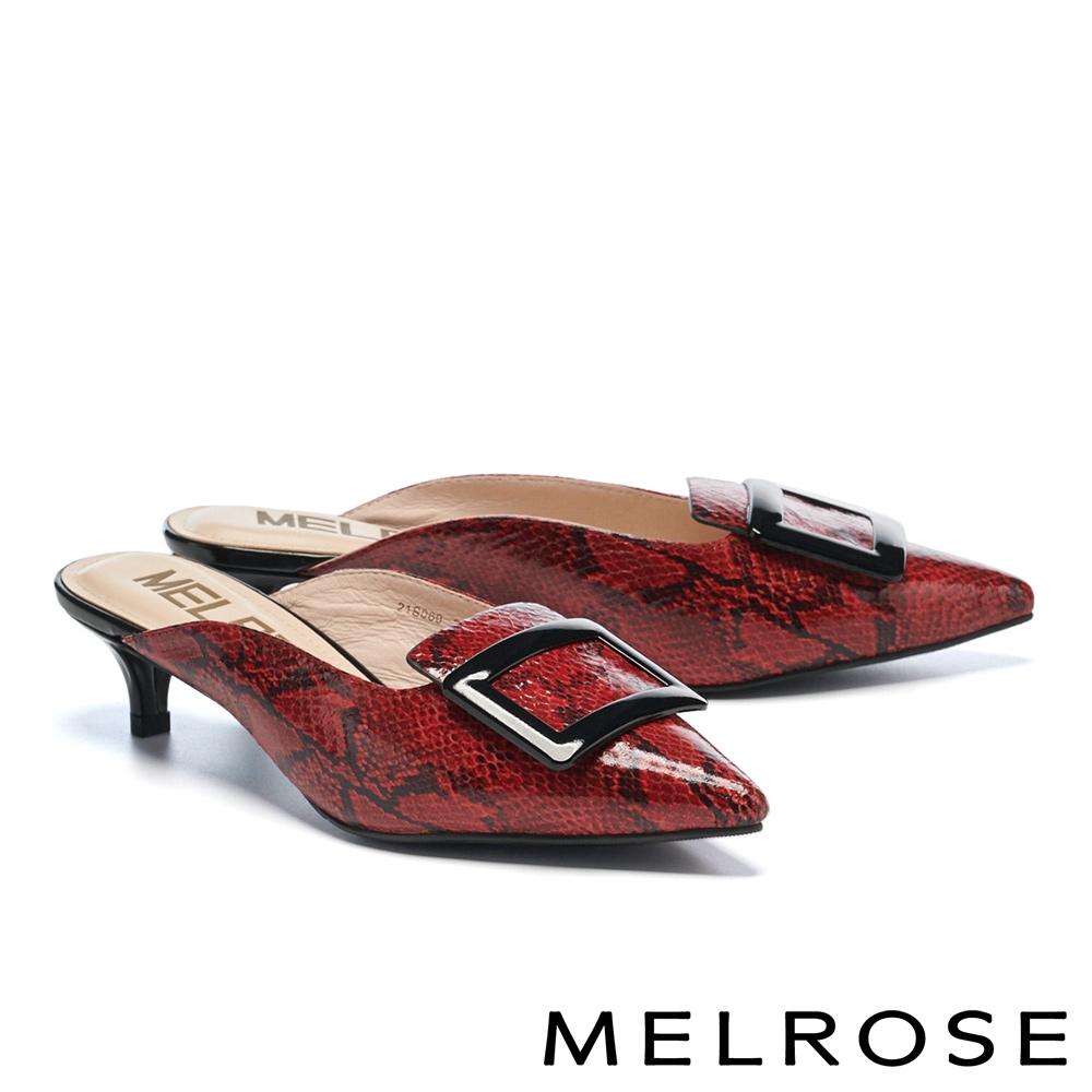 穆勒鞋 MELROSE 都會時髦方釦蛇紋尖頭穆勒高跟拖鞋-紅