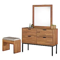 文創集 羅多時尚3.5尺木紋立鏡式化妝台/鏡面櫃(含化妝椅)-106x50x164cm免組