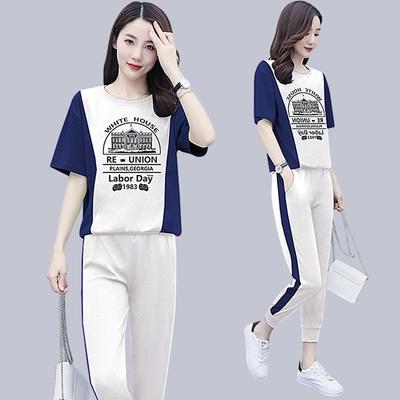 【韓國K.W.】(預購)輕美學撞色時尚圖騰套裝褲(共1色)