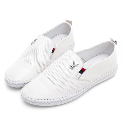 PLAYBOY 英倫質感 柔軟真皮手工鞋-白-Y728311