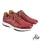 A.S.O機能休閒 萬步健康鞋 綁帶款休閒鞋-暗紅