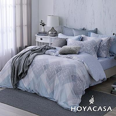 HOYACASA時尚節奏 加大四件式天絲柔棉兩用被床包組