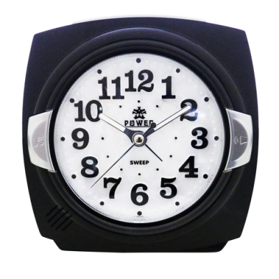 POWER霸王鐘錶-貝殼面板小鬧鐘-優雅黑-PM666BK-12CM