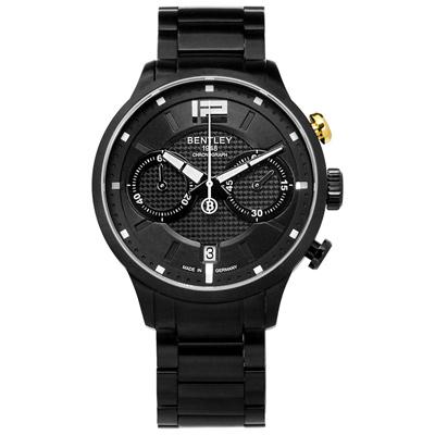 BENTLEY 賓利 德國製造 藍寶石水晶玻璃 日期 計時碼表 不鏽鋼手錶-黑色/42mm