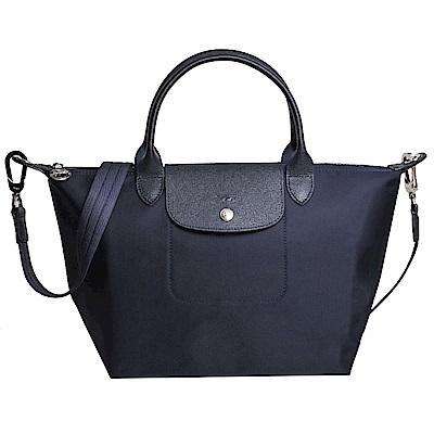 Longchamp Le pliage Neo 厚質尼龍布短帶水餃包/斜背包(海軍藍/小)