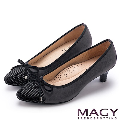 MAGY 氣質首選 點點布面百搭中跟鞋-灰色