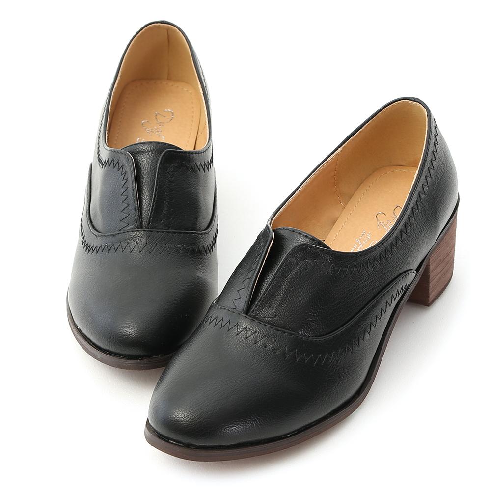 D+AF 英倫時尚.拷克線無綁帶中跟牛津鞋*黑