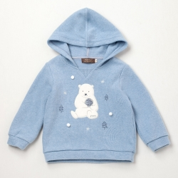 PIPPY可愛北級熊附帽上衣 水藍