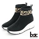 【bac】中性時尚豹紋水鑽彈力休閒厚底短靴-黑