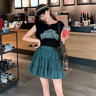 DABI 韓系印花字母T恤上衣半身裙套裝短袖裙裝