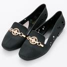 River&Moon防水鞋-時尚髮絲紋金飾Q軟洞洞樂福鞋雨鞋-黑