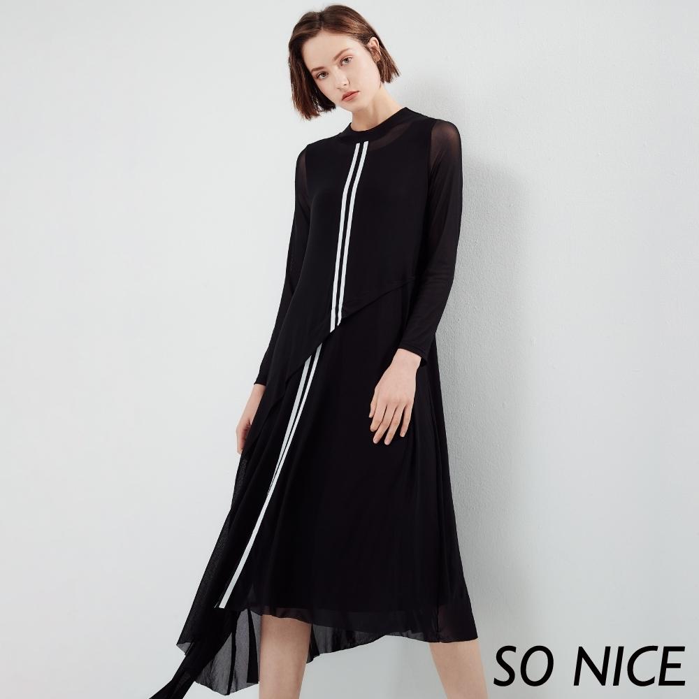 SO NICE個性運動風不規則網紗洋裝
