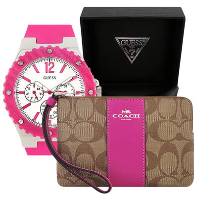 COACH 桃紅色大C PVC手拿包+GUESS 桃紅色三眼時尚運動腕錶