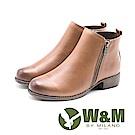 W&M 輕質素面雙拉鍊短靴 女鞋 - 棕(另有黑)