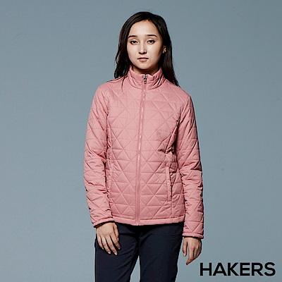 【HAKERS 哈克士】女款 菱格保暖外套(玫灰)