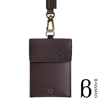BAGMIO authentic 牛皮名片證件套 可可棕 附織帶