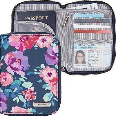 《TRAVELON》對開拉鍊護照包(花卉)