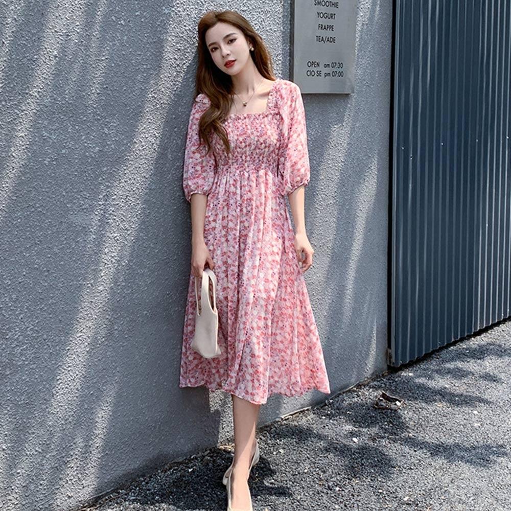 【KISSDIAMOND】法式一字領甜美雪紡碎花連衣裙(舒適/涼感/百搭/KDD6221)