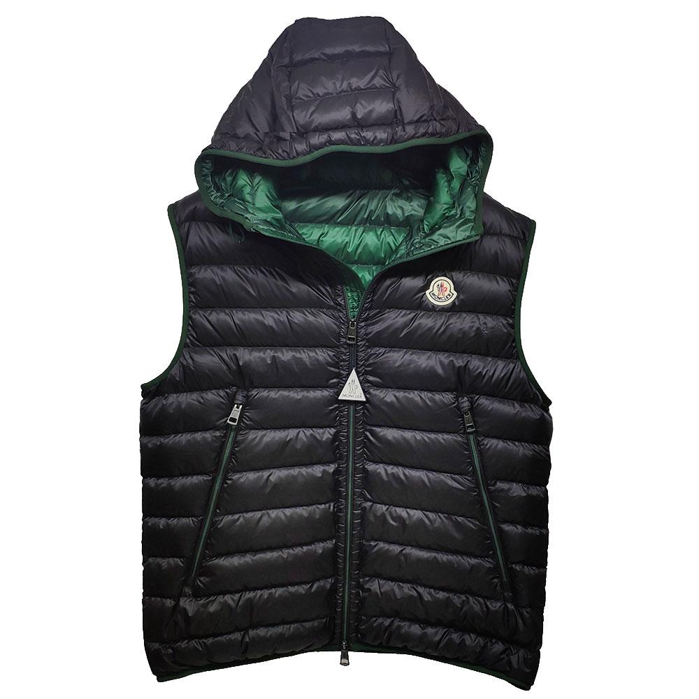 MONCLER MORELLET品牌經典羽絨車縫連帽背心(黑/綠)