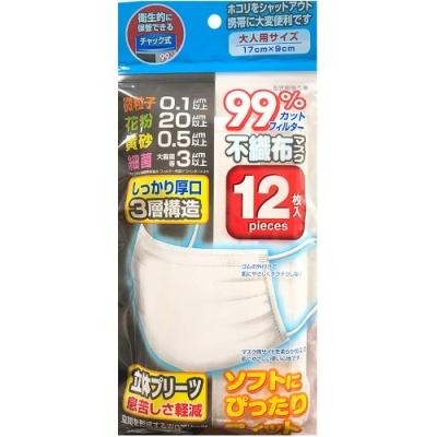 日本進口 成人用防塵防護衛生口罩(12枚/包)x5