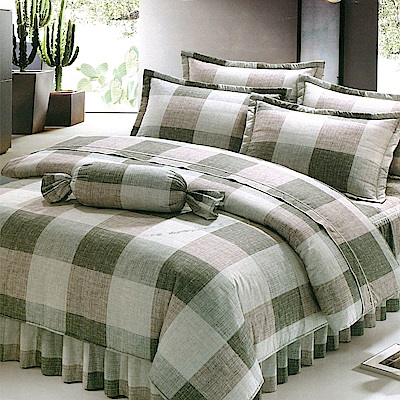 Carolan 規律-綠  雙人五件式純棉床罩組(台灣製)
