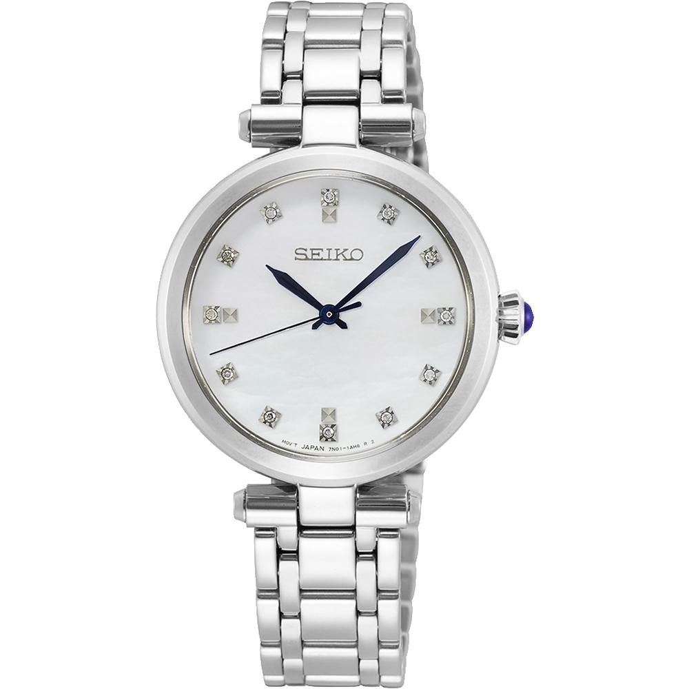 SEIKO精工 CS系列名媛晶鑽女錶(SRZ529P1)-珍珠貝x銀色/30mm