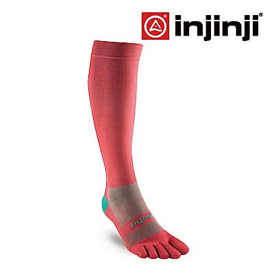 【INJINJI】女款舒柔反光透氣五趾壓力襪-朱槿紅